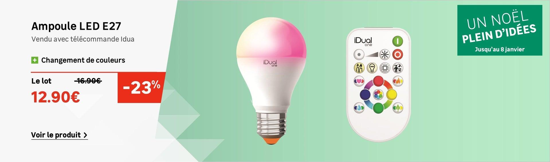 Ampoule LED standard E27 + télécommande