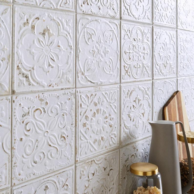 Carrelage Mur Et Sol Carreau De Ciment Blanc Mat L 20 X L 20 Cm Victoria