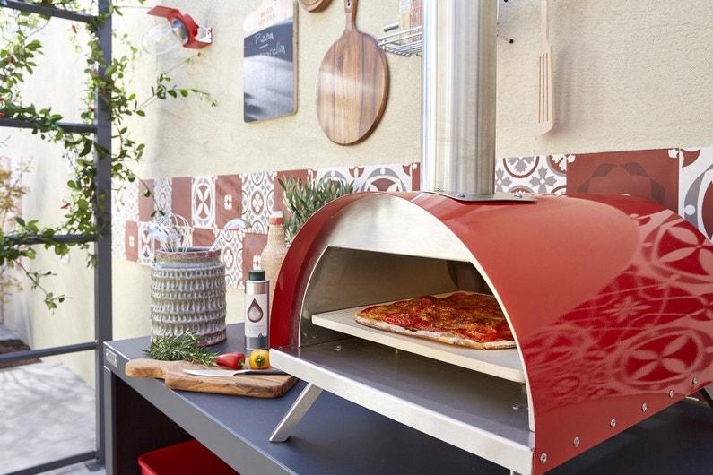 Four à Pizza En Acier Rouge L41 X L58 X H28 Cm