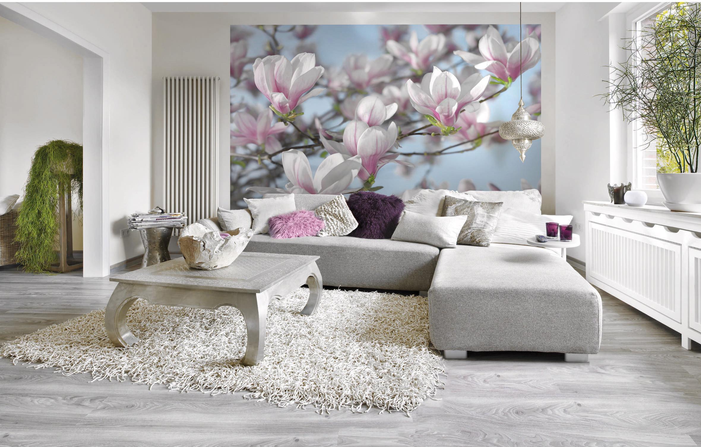 Papier peint panoramique Magnolia blanc papier KOMAR l.254 x H.368 cm
