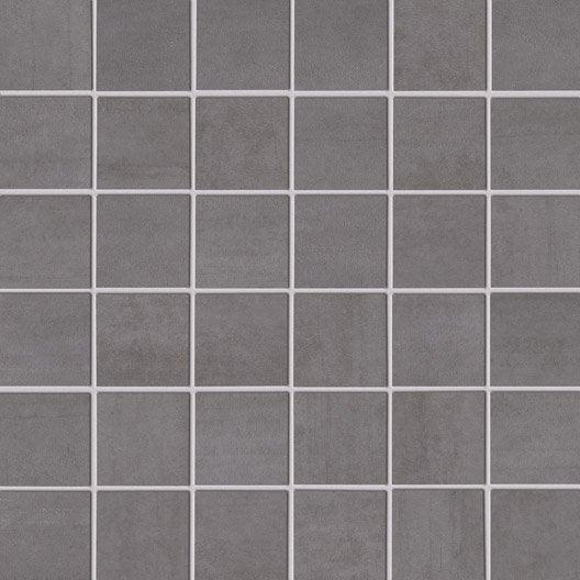 Mosa que eiffel artens gris clair 5x5 cm leroy merlin for Carrelage 5x5 blanc