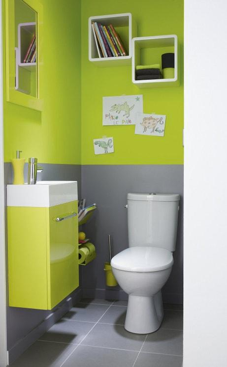 Vert et gris pour des WC tendance