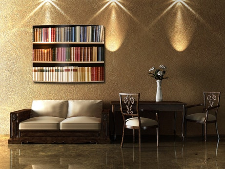 Un radiateur électrique avec une bibliothèque en trompe l'oeil pour chauffer et décorer votre salon