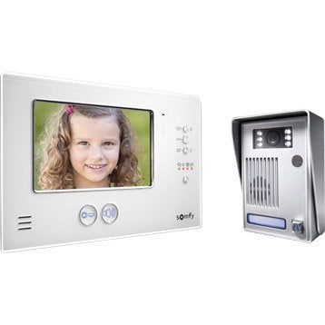 Interphone visiophone 2 fils SOMFY V200 blanc
