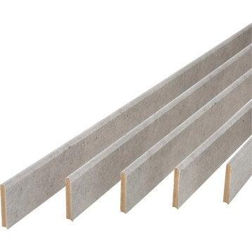 Lot de 5 plinthes médium (MDF) arrondies revêtu mélaminé Béton, 9 x 68 mm, L.2 m