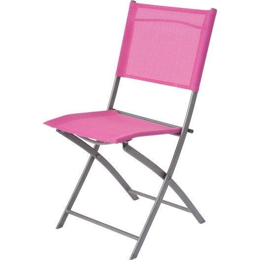 Chaise de jardin en acier denver fuchsia leroy merlin - Chaise jardin couleur ...
