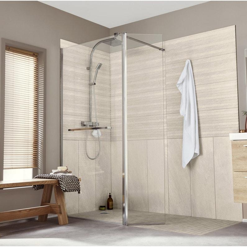 Fermer Douche Italienne paroi de douche à l'italienne, l.120+40 cm verre transparent 8 mm