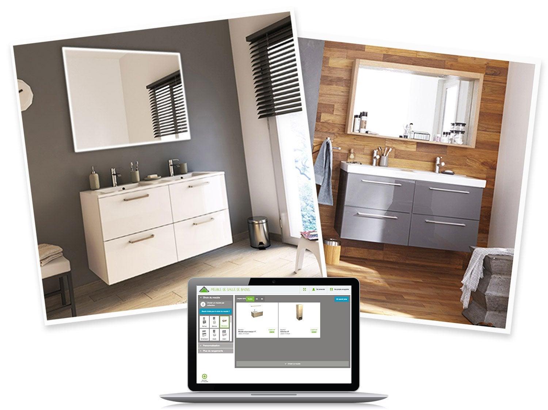 Concevoir mon meuble de salle de bains leroy merlin - Meuble salle de bain d angle leroy merlin ...