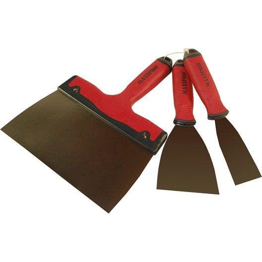 Couteau à enduire acier inoxydable Lot de 3 couteaux bi-matière 4/8/20cm MAXIPRO