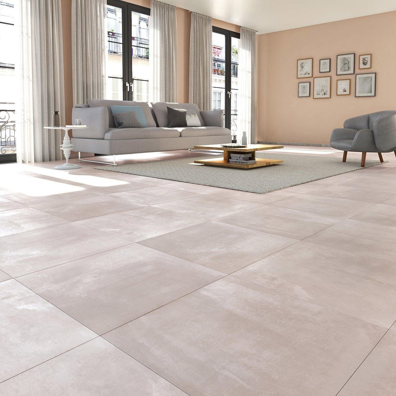 Carrelage sol et mur gris clair effet béton Matinon l.60 x L.60 cm ...