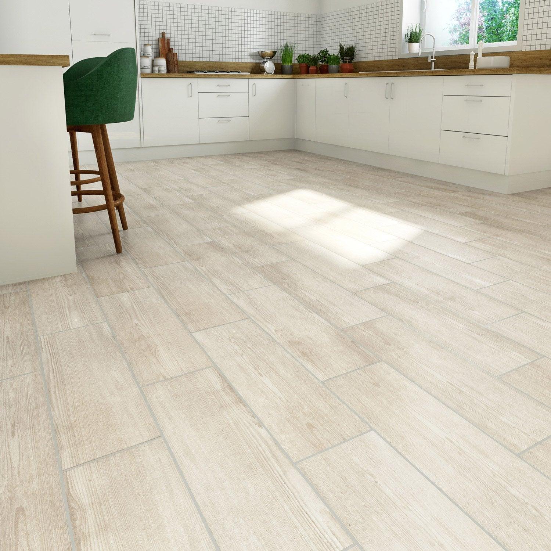 Carrelage sol et mur medio effet bois gris Baya l.20.5 x L.61.5 cm ARTENS