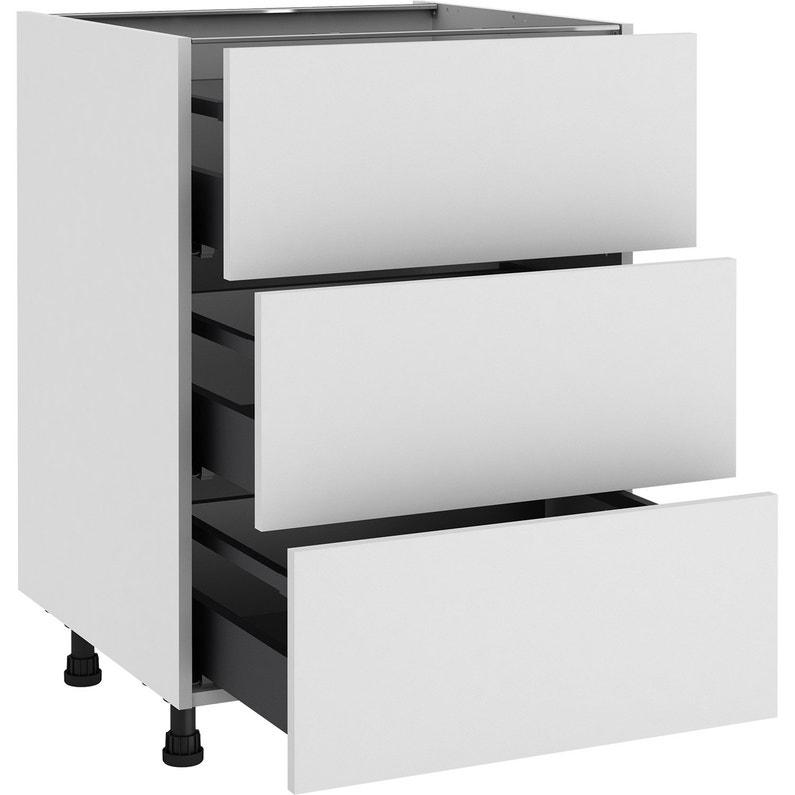 meuble bas de cuisine sofia blanc 3 tiroirs cm x cm leroy merlin