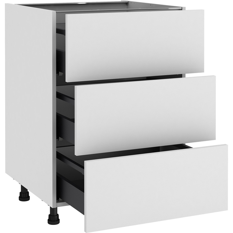 Meuble bas de cuisine Sofia blanc, 13 tiroirs H.13 l.13 cm x p.13 cm