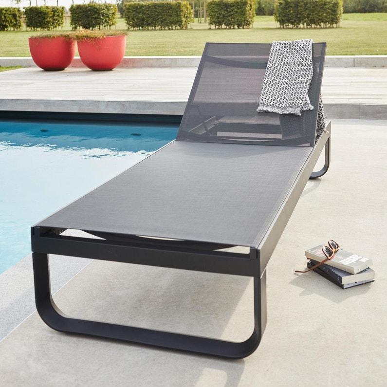 Bain de soleil de jardin en aluminium Horizon noir | Leroy Merlin