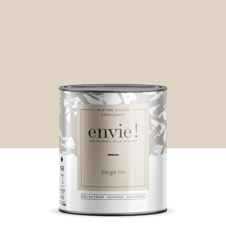 Peinture dépolluante mur, boiserie, radiateur ENVIE beige lin velours 0.5 l