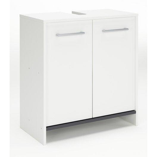 Meuble sous lavabo x x cm blanc nerea - Evier salle de bain leroy merlin ...