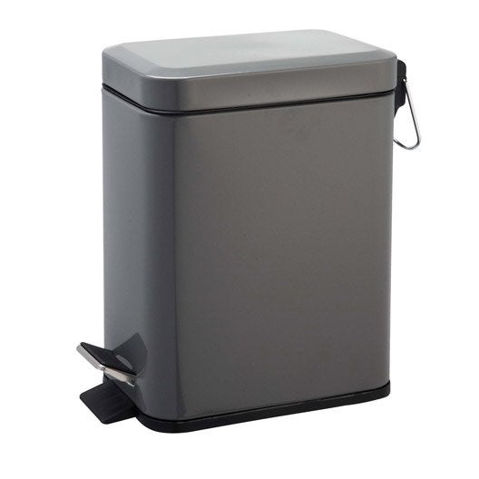 poubelle de salle de bains 5 l gris gris 1 sensea slim leroy merlin. Black Bedroom Furniture Sets. Home Design Ideas