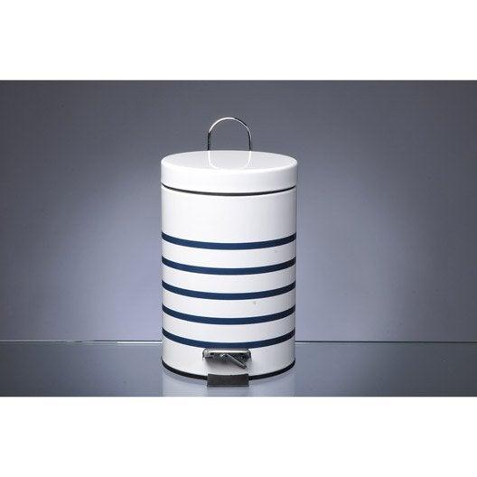 Poubelle de salle de bains 3 l bleu bleu 1 marin leroy - Poubelle de salle de bain en bois ...