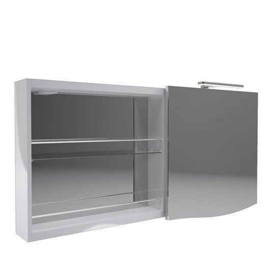 armoire avec clairage int gr cm gris decotec. Black Bedroom Furniture Sets. Home Design Ideas