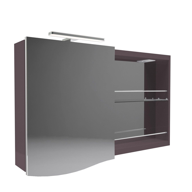 armoire de toilette lumineuse l 100 cm marron decotec. Black Bedroom Furniture Sets. Home Design Ideas
