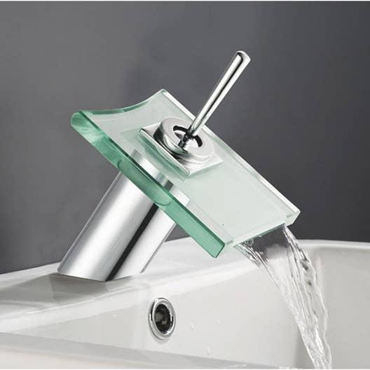 Mitigeur de lavabo cascade chromé brillant Cristali | Leroy Merlin