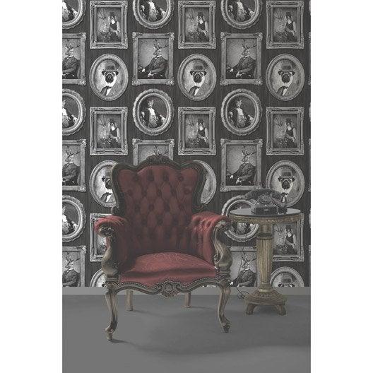 papier peint intiss portrait animaux noir leroy merlin. Black Bedroom Furniture Sets. Home Design Ideas