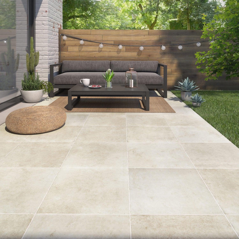 carrelage sol et mur ext rieur forte pierre beige monast re x cm leroy merlin. Black Bedroom Furniture Sets. Home Design Ideas
