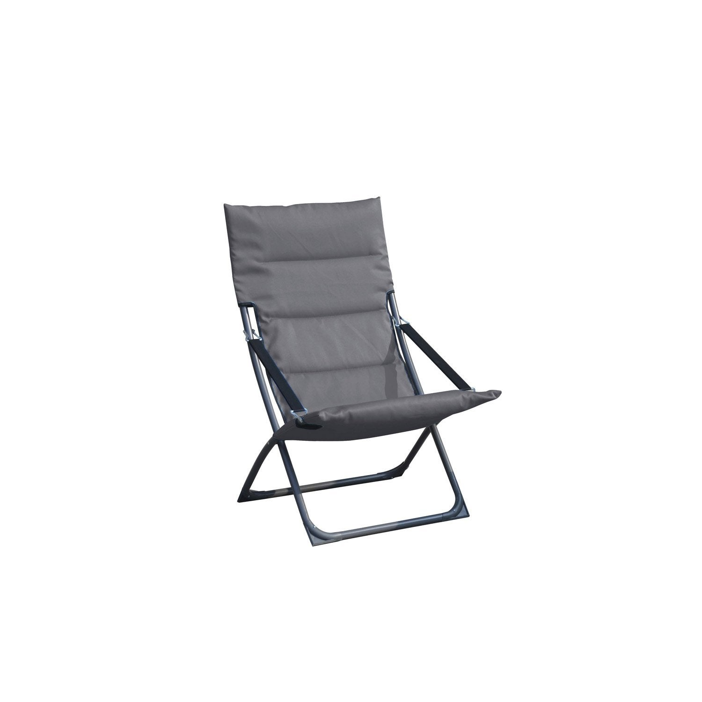 relax de jardin en tissu venezia gris leroy merlin. Black Bedroom Furniture Sets. Home Design Ideas