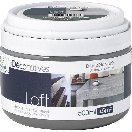 Peinture effet loft meuble les decoratives oslo 0 5 l leroy merlin for Peinture effet beton cire leroy merlin orleans
