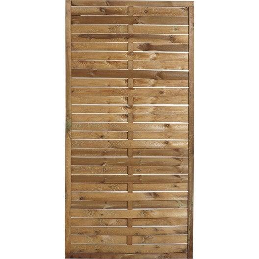 Panneau en bois droit plein naterial l 90 x h 180 cm marron - Panneau occultant composite ...