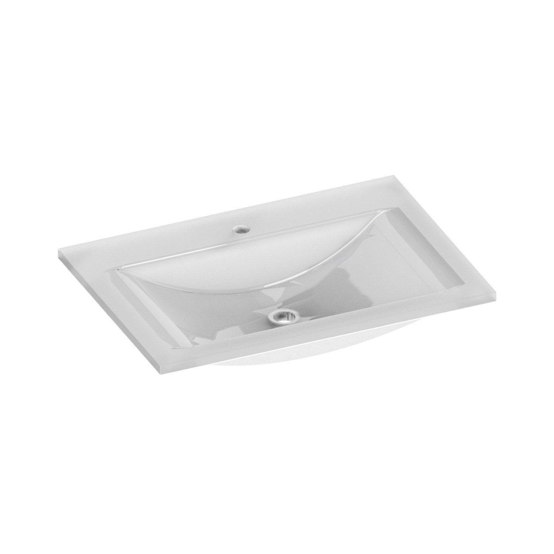plan vasque simple elea 2 verre tremp blanc cm leroy merlin. Black Bedroom Furniture Sets. Home Design Ideas