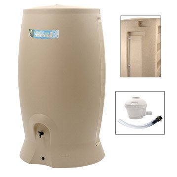 Récupérateur d'eau et collecteur aérien EDA cylindrique beige , 1000 l