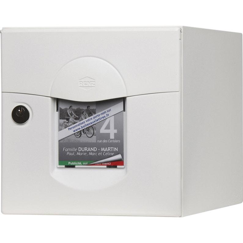 Boîte Aux Lettres Normalisée 1 Porte Extérieur Renz Solea Acier Blanc
