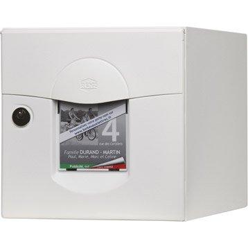 Boîte aux lettres normalisée la poste 2 portes RENZ Solea, acier blanc