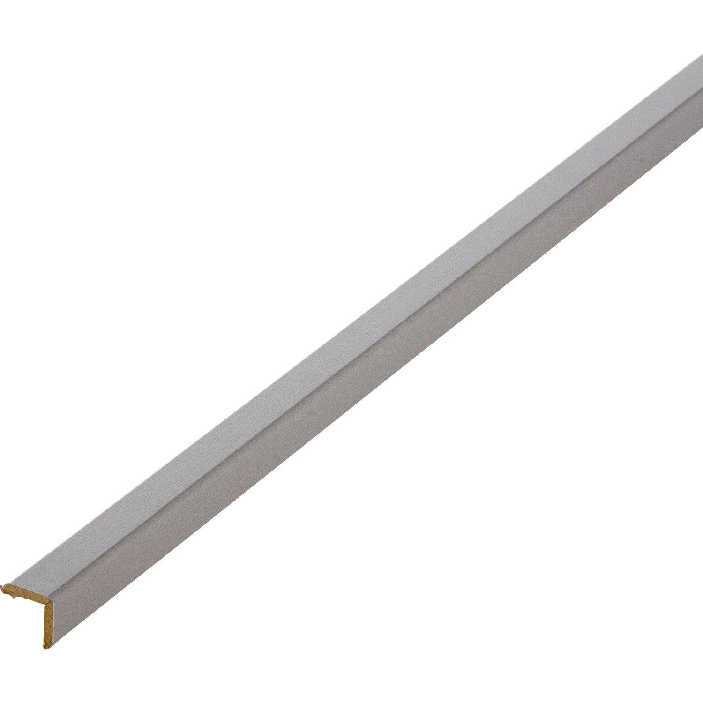 Baguette d'angle médium (MDF) gris galet 3, 20 x 20 mm, L.2.4 m