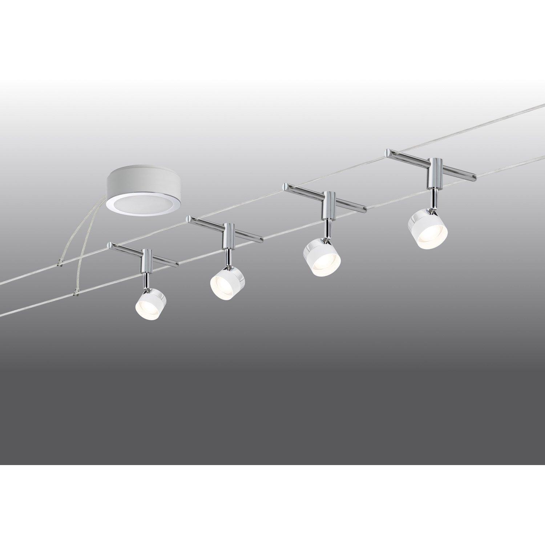 kit c ble led stage m tal blanc chrome 4 paulmann leroy merlin. Black Bedroom Furniture Sets. Home Design Ideas