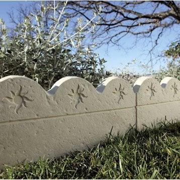Bordure droite Soleil pierre reconstituée ton pierre, H.25 x L.49 cm
