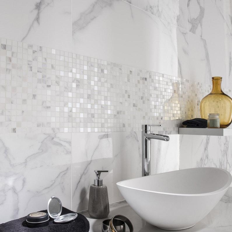 Faience Mur Blanc Carrare Brillant L305 X L915 Cm