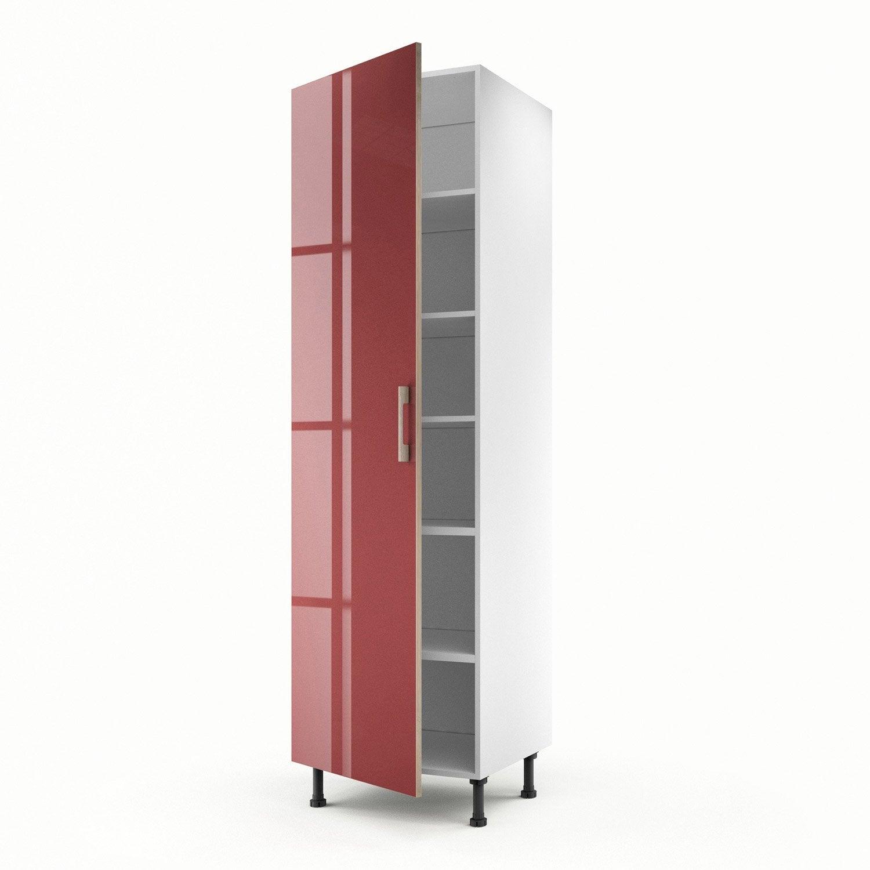 Meuble de cuisine colonne rouge 1 porte grenade x l - Meuble colonne cuisine 60 cm ...