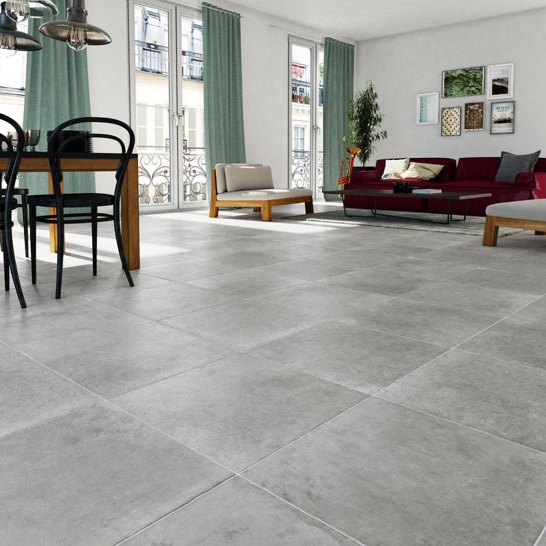 Carrelage sol et mur gris effet pierre Monastère l.50 x L.50 cm ...