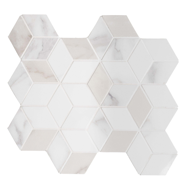 Mosaïque mur Murano hexa blanc carrare