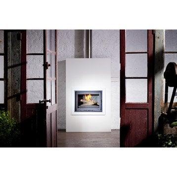 Trou à feu façade en métal, EQUATION, Option parure décorative blanc polaire