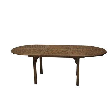 Table de jardin salon de jardin table et chaise leroy for Table teck 6 8 personnes