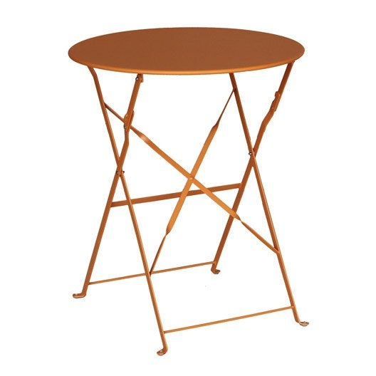 Table de jardin flore ronde orange 2 personnes leroy merlin for Table de nuit leroy merlin