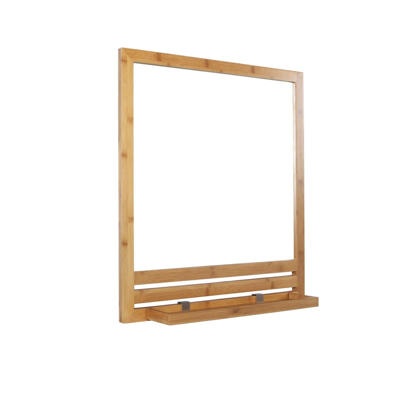 Miroir avec tablette bambou, l. 53.0 cm Natural | Leroy Merlin