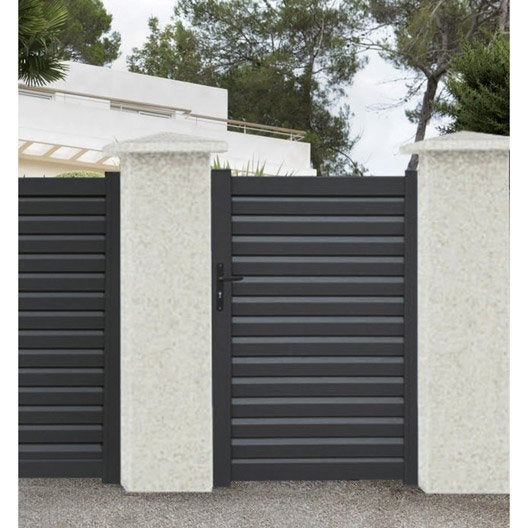 Portillon battant naterial elys x cm gris for Portillon jardin gris