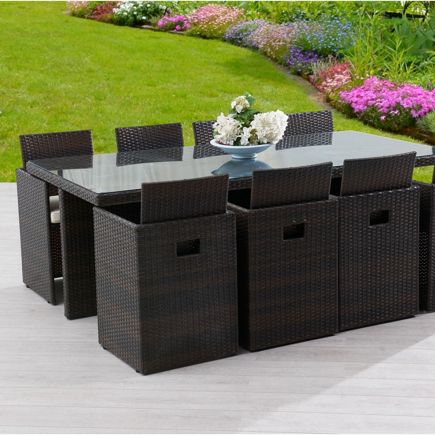 salon de jardin encastrable r sine tress e marron 8. Black Bedroom Furniture Sets. Home Design Ideas