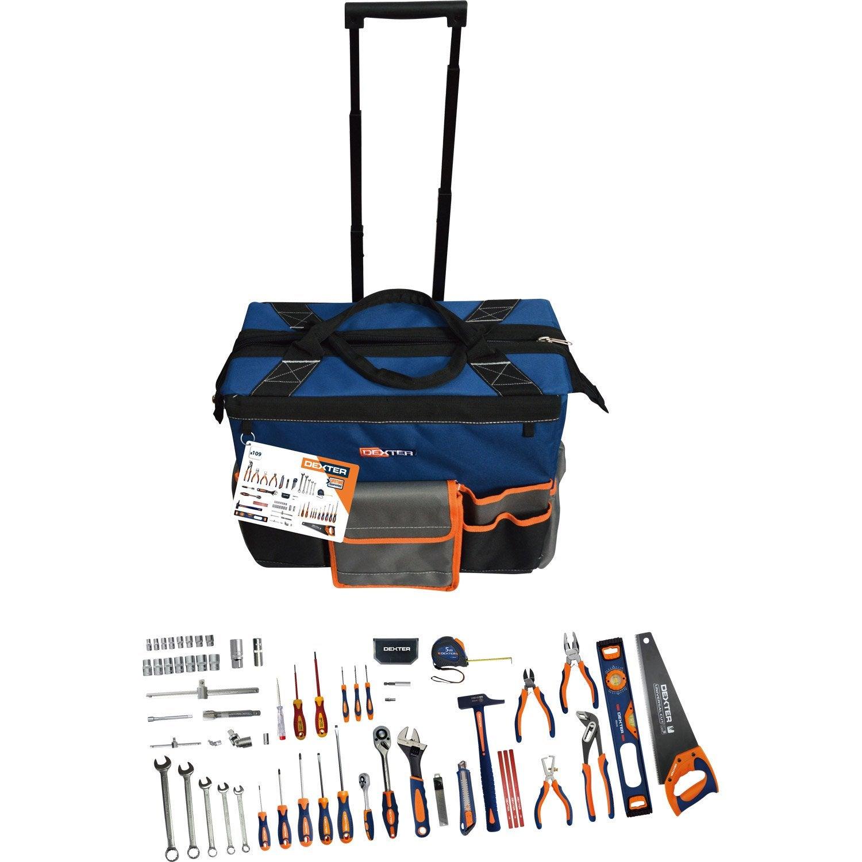 02b73b9505750c Sac à roulettes d outils 109 pièces DEXTER + coffret de douilles DEXTER