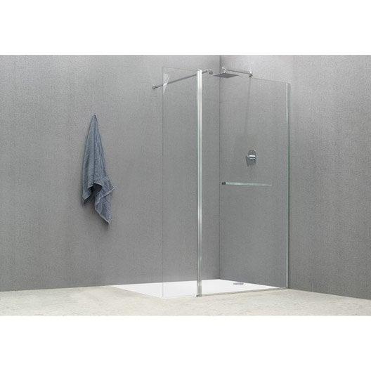 Paroi de douche à l'italienne, l.100+40 cm verre transparent 8 mm Cube