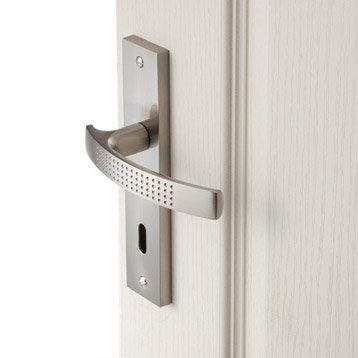 Lot de 2 poignées de porte Louna trou de clé, aluminium satiné, 165 mm